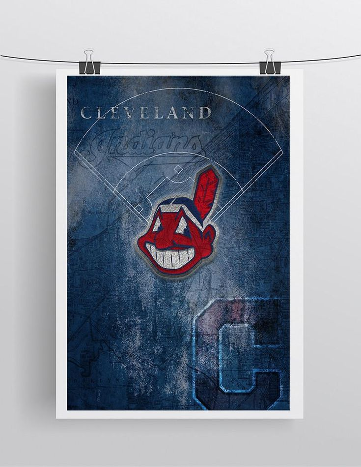 Cleveland Indians Poster 2, Cleveland Indians Artwork Gift, Indians In Front of Cleveland Map, Baseball Man Cave Art
