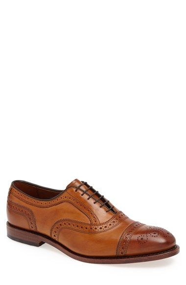Allen Edmonds 'Strand' Cap Toe Oxford (Men). Exquisite broguing highlights the capped toe of this six-eyelet oxford crafted from calfskin leather with a handsome burnish.