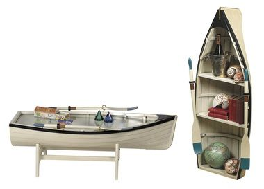 Enjoy a nautical home with the Nautical Dory Rowboat Coffee Table with Bookshelves. Offered by a family owned business, get the lowest price and free shipping today!