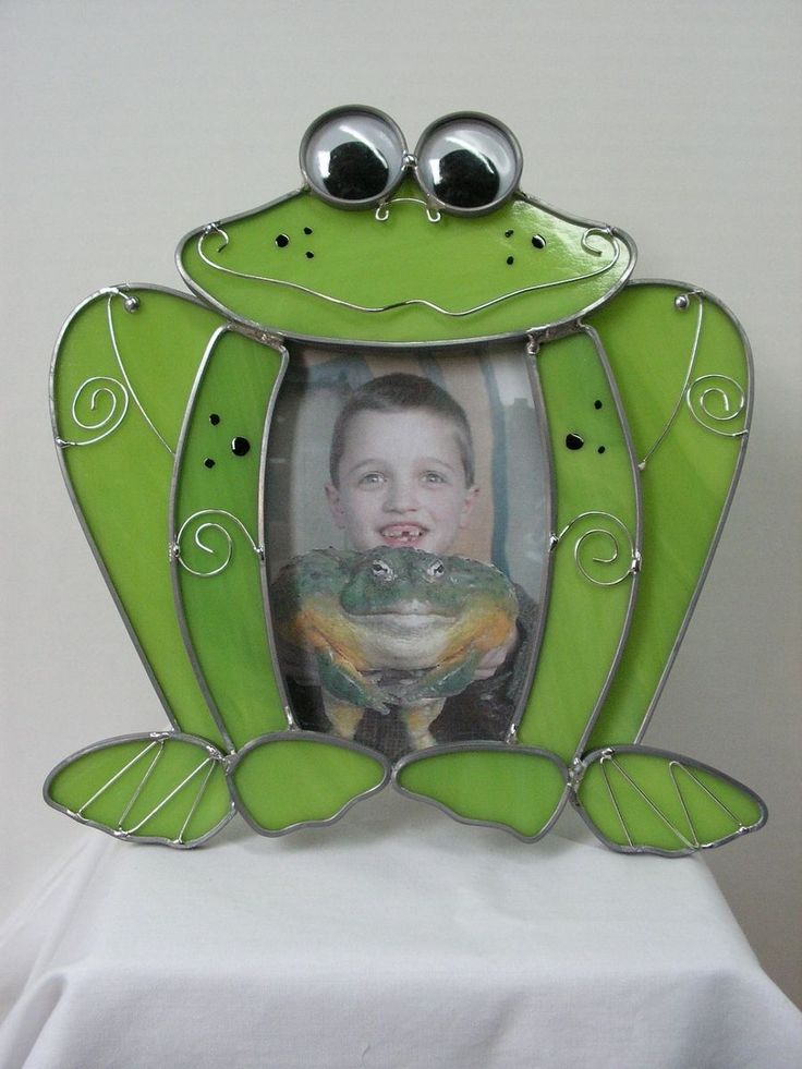 """Custom Made Green Frog Stained Glass Picture Frame """"Hopper The Frog''"""