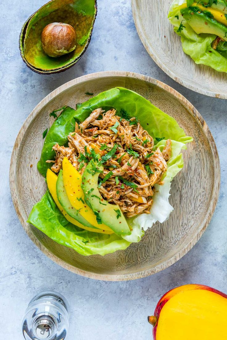 Crock-Pot Jamaican Pulled Chicken Lettuce Wraps for Fresh Clean Eating! - Clean Food Crush