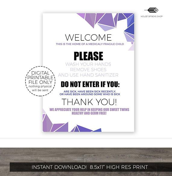 Medically Fragile Child Door Sign Medically Fragile Baby Wash Your