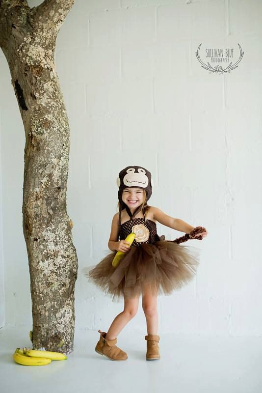 Monkey Costume Tutu and Handmade Crochet Hat with Furry Tail Baby Girls Halloween Costume Outfit Satin Flower Headband 2 dress in 1