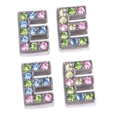 100pcs Stylish Letter E Colorful Rhinestone Zinc Alloy Bead Fit Jewelry Making J