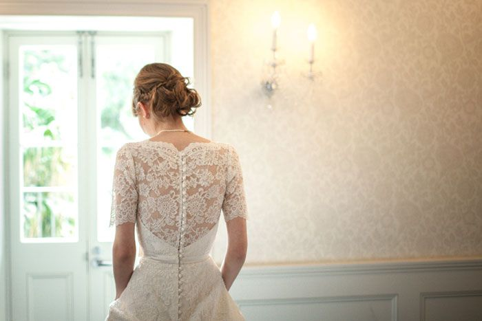Lace back button down wedding dress