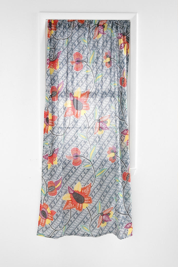 batik flower curtain