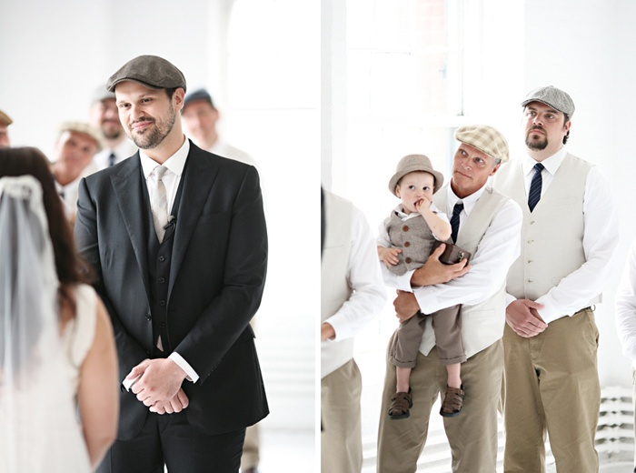 groom and groomsmen in vintage outfits and hats. ring bearer too