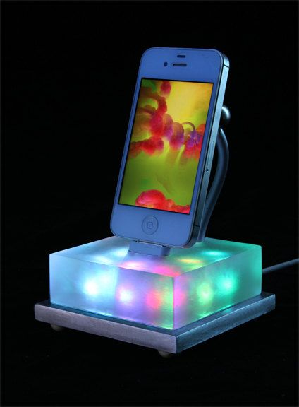 Beautiful color changing iPhone dock $69.90, via Etsy - BurnerBoutique --- How cool is this iPhone dock that changes colors? This particular one doesn't work with iPhone 5, but they have some that do! WooHoo!