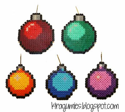 Christmas baubles hama perler beads by Kira Sarenne - Kiragumies make these and sell them as actual ornament for the tree?