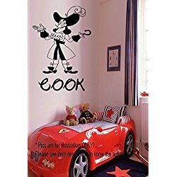 Disney Pirates Wall Stickers Captain Hook Personalized Name Wall Art Nursery / Kids Bedroom Never Land Vinyl Wall Decals