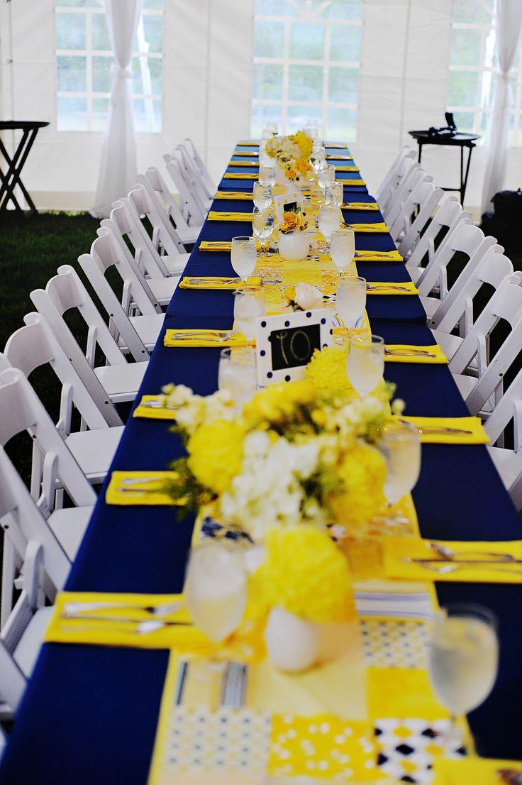 Navy and Yellow Reception Decor Yellow wedding theme