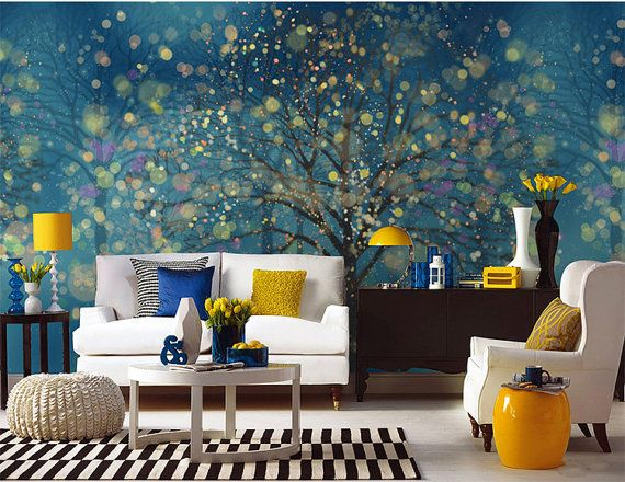 Fantasy Forest Wallpaper Wall Decal Art Bedroom Midnight Dark Blue Dream Night Woods Tree Wall Paper Wall Mural Fairy Tale Colorful Nature