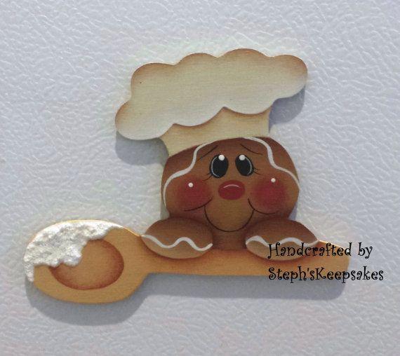 Handpainted Gingerbread Fridge Magnet Kitchen por stephskeepsakes