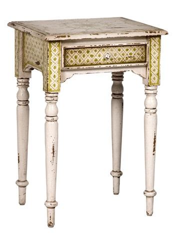 Olive Side Table with Turned Legs in Antique White