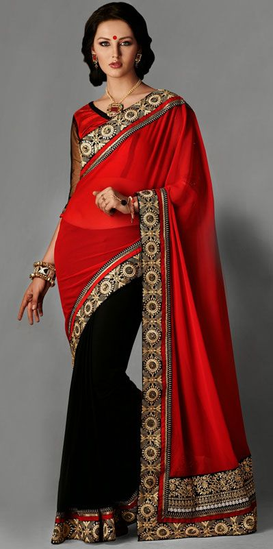 Red Georgette Embroidery Party Wear Saree 42772