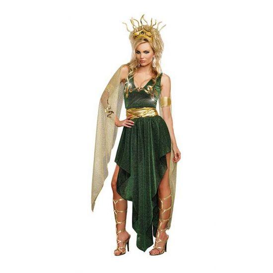 Sexy Medusa kostuum voor dames. Grieks dames kostuum bestaande uit de groene jurk met gouden details, gouden band rond het middel, goudkleurige armbanden en goudkleurig hoofdstuk. Exclusief oorbellen en schoenen. Carnavalskleding 2015 #carnaval