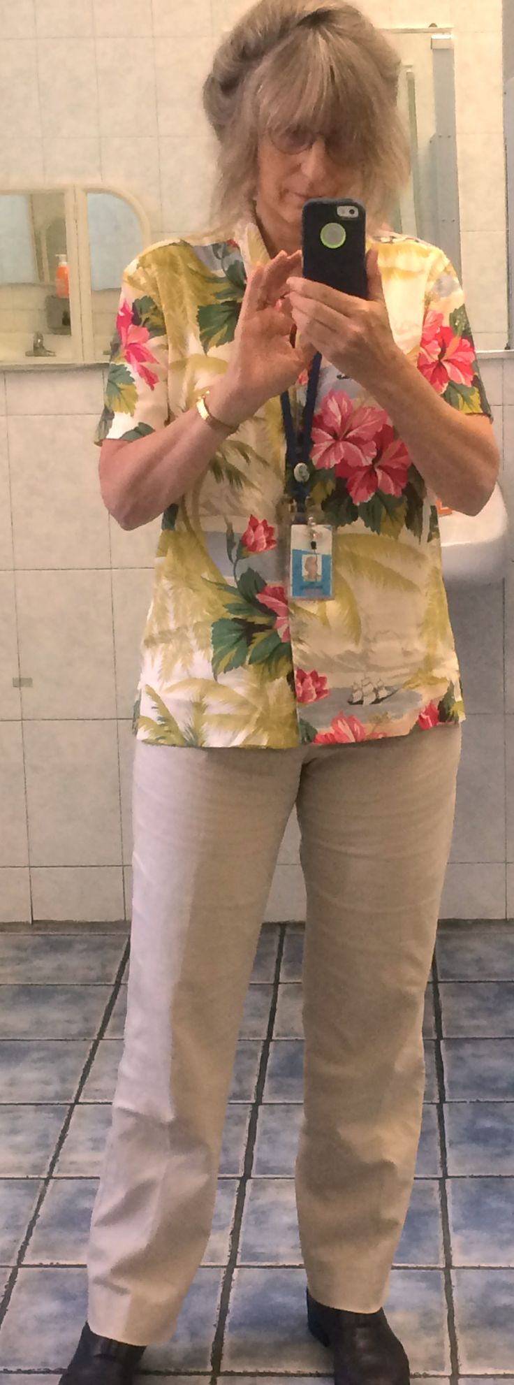 Most tasteful Hawian shirt ever with kahkis, both from thrift