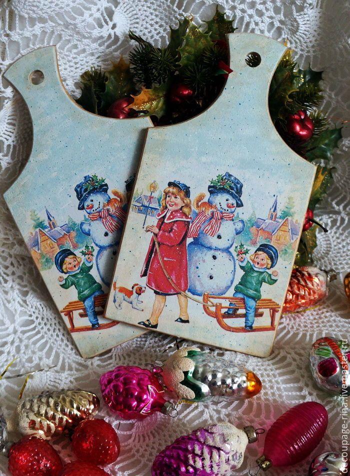 Купить Доска кухонная разделочная Волшебница зима.Винтаж. Декупаж - комбинированный, доска разделочная