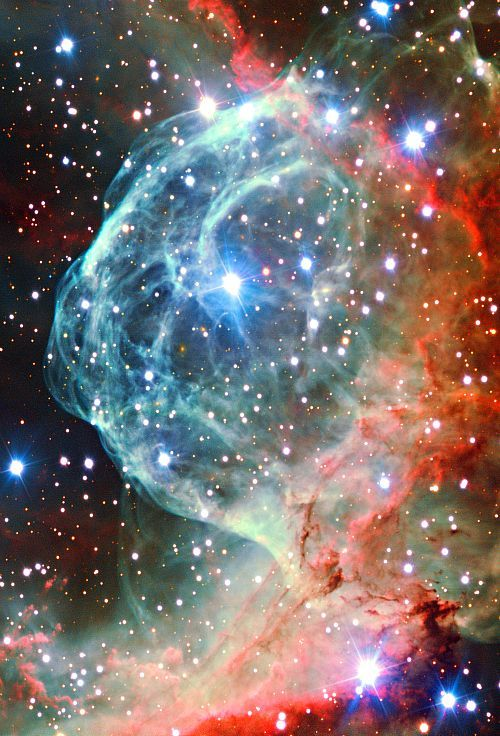 astronomyforamateurs:   Thor's Helmet - NGC 2359 is an emission nebula that is in the constellation Canis Major. The nebula is approximately 15,000 light years away and 30 light years long. The central star is Wolf-Rayet star HD 56925, an extremely hot red giant thought to be in a brief, pre-supernova stage.
