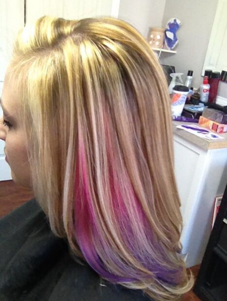 Heavy Blonde Highlight With Red Underneath: I Love This Hidden Ombré!