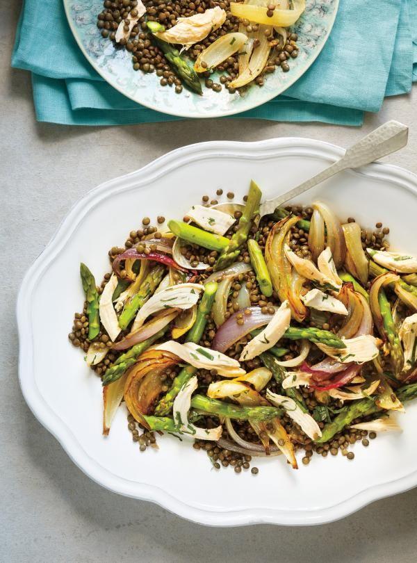 Recette de Ricardo de salade de lentilles, de poulet, d'asperges et d'oignons rôtis