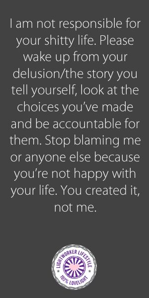 This is my tough love saying for the blamers and haters in our lives. I'm sure everyone has one! ***I am not responsible for your shitty life. Please wake up from your delusion/the story you tell yourself, look at the choices you've made and be accountabl (Life After Divorce)