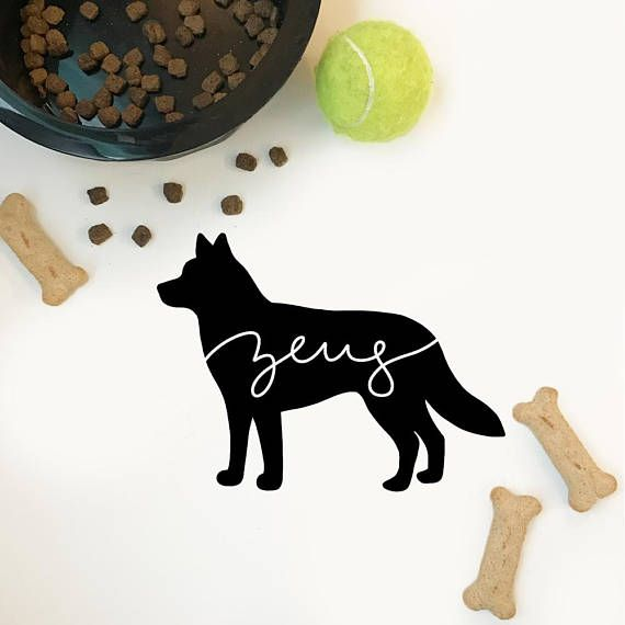 Custom dog decal special made to represent your doggy companion! --------------------------------  ****Tell me your dogs name or nickname in the note section upon purchasing your decal. Also provide whether you want the skinny font or curly font. (Ex. Tyson-curly)*****