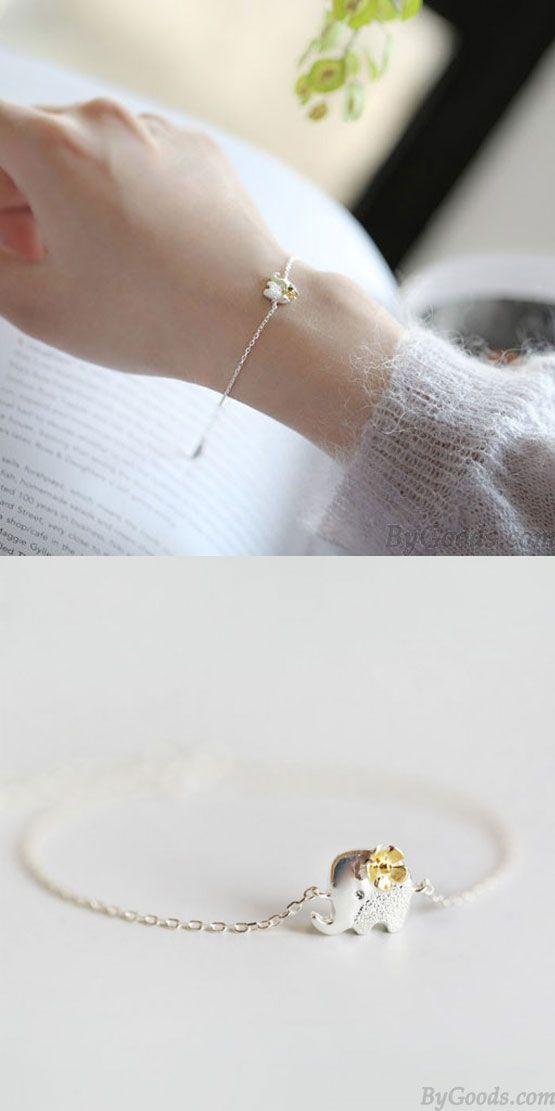 Fresh Yellow Flower Silver Cute Elephant Bracelet is so cute ! #silver #cute #elephant #bracelet #flower #gift