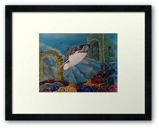 Framed print, shark,painting,underwater,world,scene,wildlife,fish,seascape,arches,ruins,temples,sunk,ancient,town,saltwater,ocean,sea,deep,bottom,floor,nature,jaws,corals,reefs,bubbles,vivid,colorful,aqua,blue,turquoise,great,white,predator,hunter,water,mystery,submerged,marine,animal,beautiful,awesome,cool,superb,amazing,fabulous,magnificent,contemporary,realistic,figurative,in,of,under,the,fine,oil,wall,art,images,home,office,decor,artwork,modern,items,ideas,for sale,redbubble