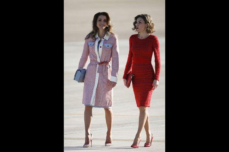 La reine Rania de Jordanie avec la reine Letizia d'Espagne à Madrid, le 19 novembre 2015