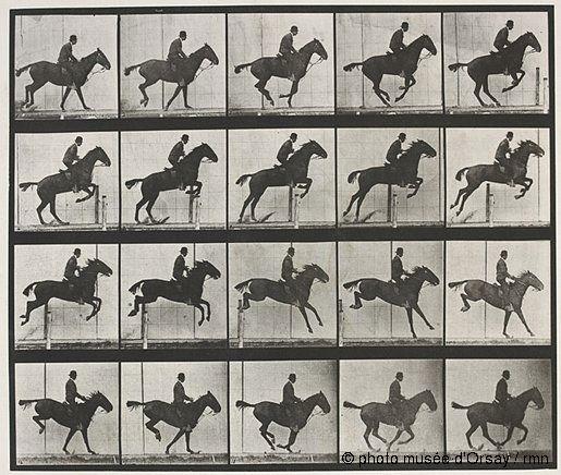 Eadweard Muybridge, Saut d'obstacle, cheval noir, 1887, épreuve photomécanique (héliogravure), Musée d'Orsay