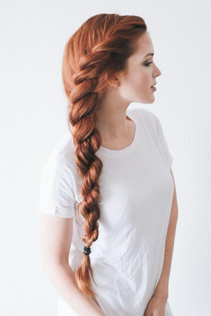 super lange glatte rötliche Haare, perfekte länge für Flechtfrisuren, lässiger Pferzeschwanz Zopf mit einem Haargummi