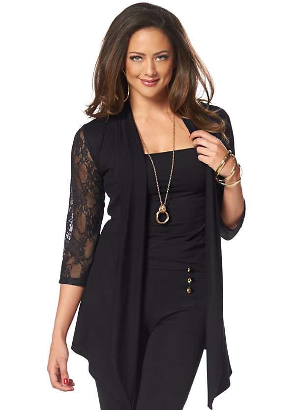 Cropped Lace Sleeve Cardigan by Melrose