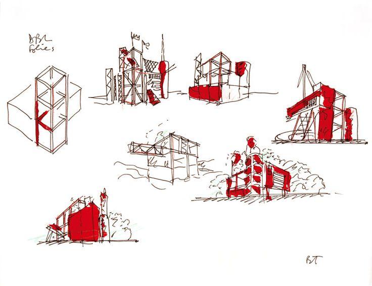 Parc de la Villette, Paris, 1983  Premières esquisses  Dessin  Encre, crayon de couleur et peinture sur papier  35.5 x 28 cm
