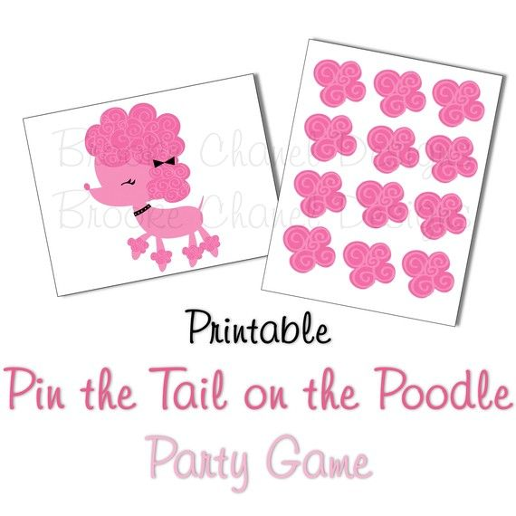 paris themed treat boxes | Pin the tail on the poodle printable game - Brooke Chanel Designs