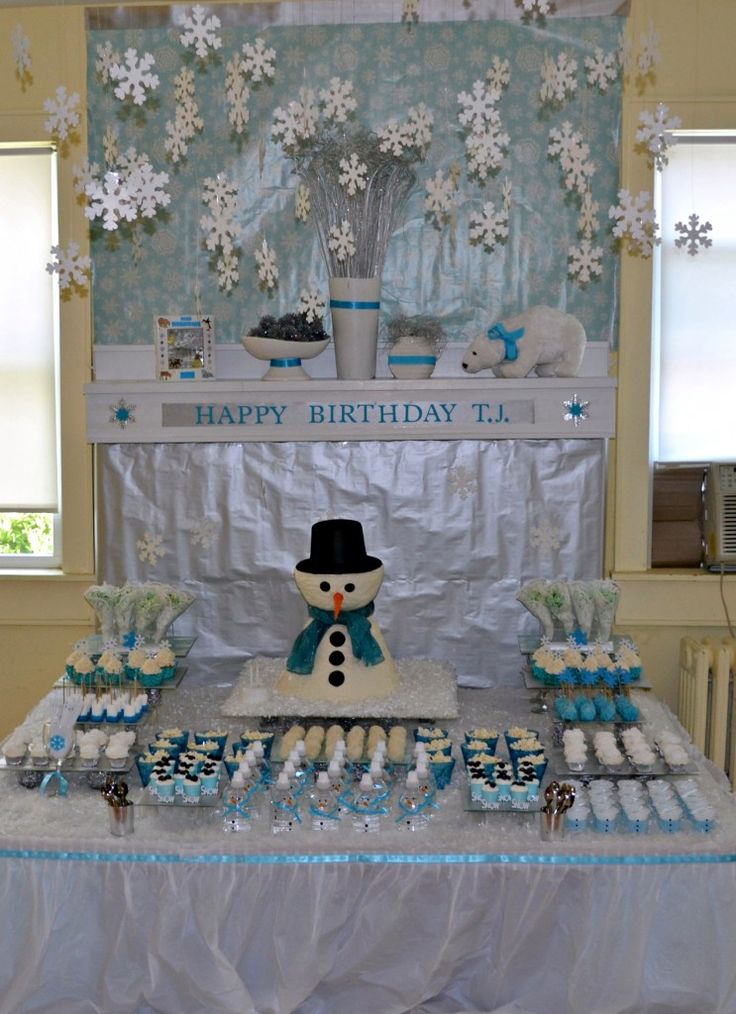 Winter Wonderland Party!  great snack ideas!  Cake cute too-Taylor wants Olaf from FROZEN!