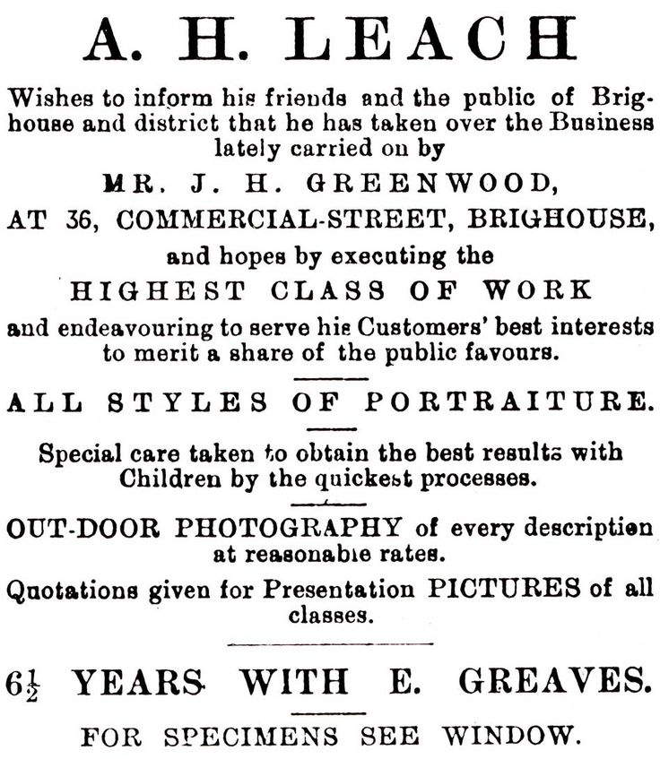The first advertisement for A.H Leach in 1891. This was featured in the Elland Echo.