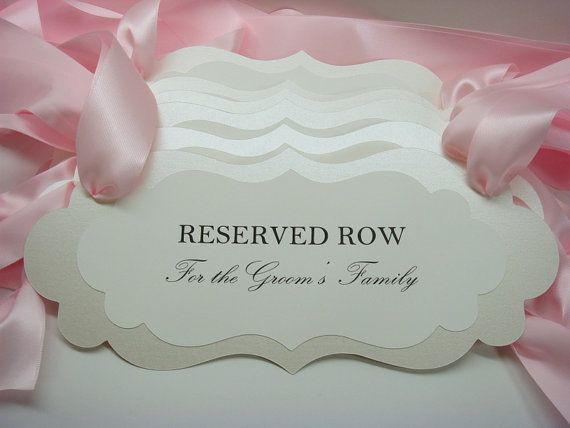 Reserved wedding sign reserved seating pew or chair signs to reserve seats for the Bride and Grooms Family during your wedding ceremony. Prepared for you in colors to coordinate with your wedding color palette. All of my card stock color are available. Please select your colors from my color chart within the photos. Wording: This listing is for 1 sign. $9.00 each  In the photos Im showing you the wording: Reserved Row for the Brides Family, or Reserved Row for the Grooms Family. Make sure to…