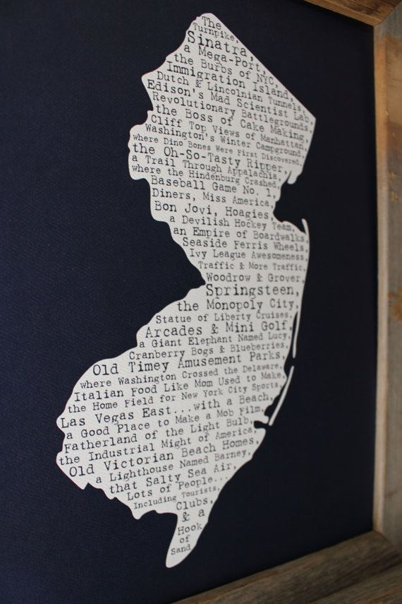 Maryland Map Coordinates%0A New Jersey In A Nutshell Word Art Map Print by fortheloveofmaps