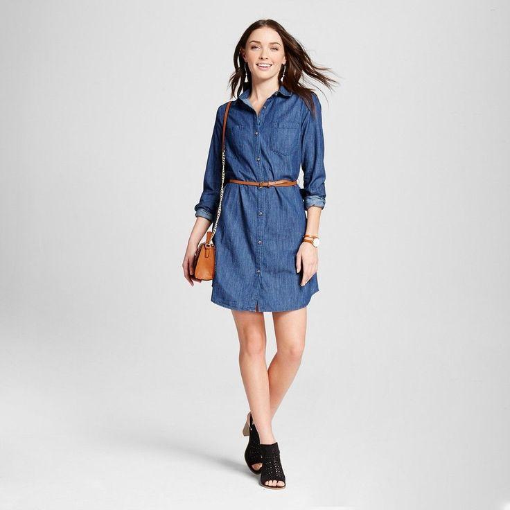 Women's Denim (Blue) Shirtdress Dark Indigo XS - Merona
