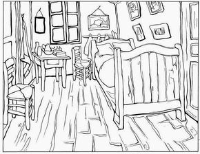 Van Gogh Bedroom Impressionist Painting By Vincent Printable Coloring Book Page