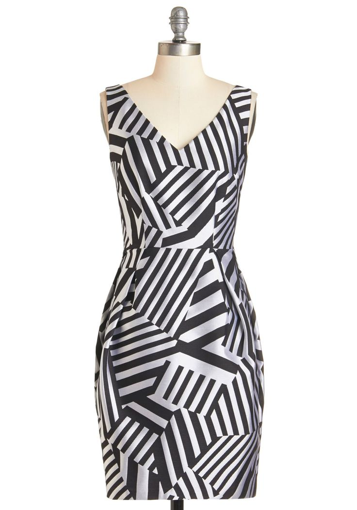 Abstract Allure Dress. While fellow gallery patrons may have differing perceptions of the pieces on the walls, everyone surely agrees that this black and grey sheath dress is something to be admired!  #modcloth