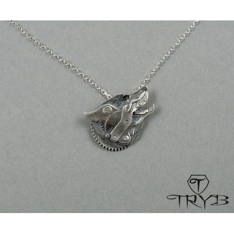 Steampunk wolf pendant made of sterling silver 925