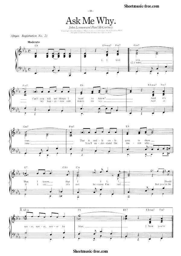 10 best piano music images on pinterest instrumental piano and pianos ask me why sheet music beatles malvernweather Image collections