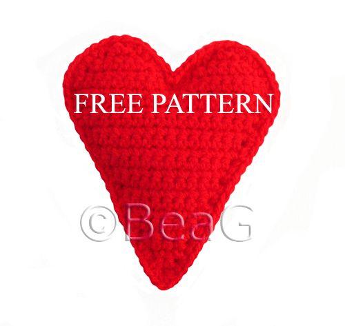 patrón gratuito: corazón rojo ganchillo