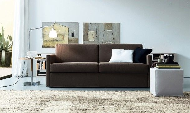 Furniture - Simple Modern Sleeper Sofa For Small Rooms Colored In Brown With White And Black Pillows And Light Gray Ottoman: Creative Sofa Design Ideas for Your Modern Living Room