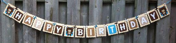 Teddy Bear Theme Happy Birthday Banner, Teddy Bear Picnic, First Birthday, Teddy Bear Party Ideas