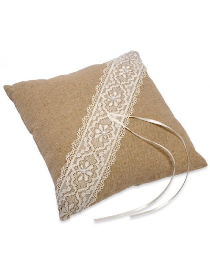 Square Ring Linen Cushion with Lace