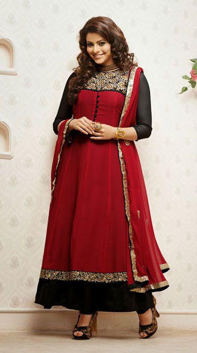 USD 58.59 Red Karachi Work Ankle Length Designer Suit   40407