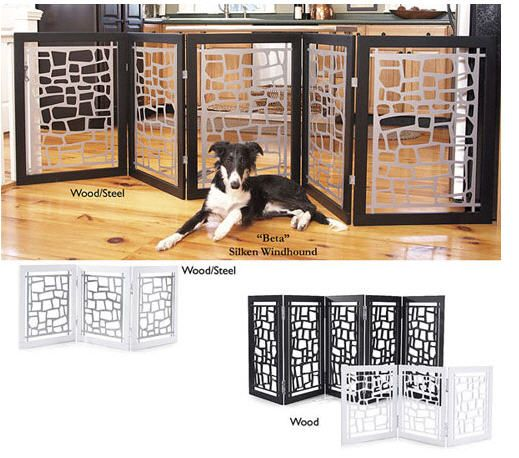 Modern Doggie Gate - could use 2x1 and grates to make this.  then add hinging. DIY